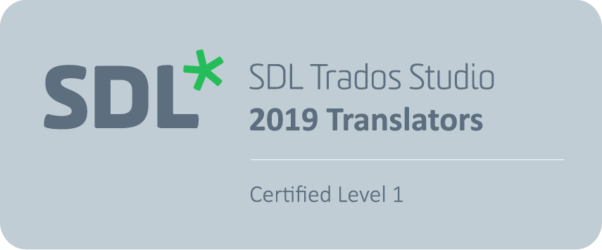 SDL Trados Studio 2019 Certification Badge
